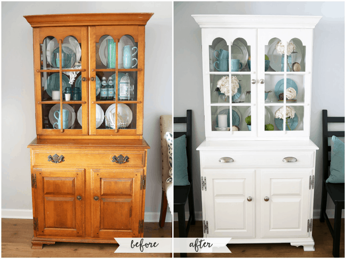 Painted Hutch Makeover | JustAGirlAndHerBlog.com