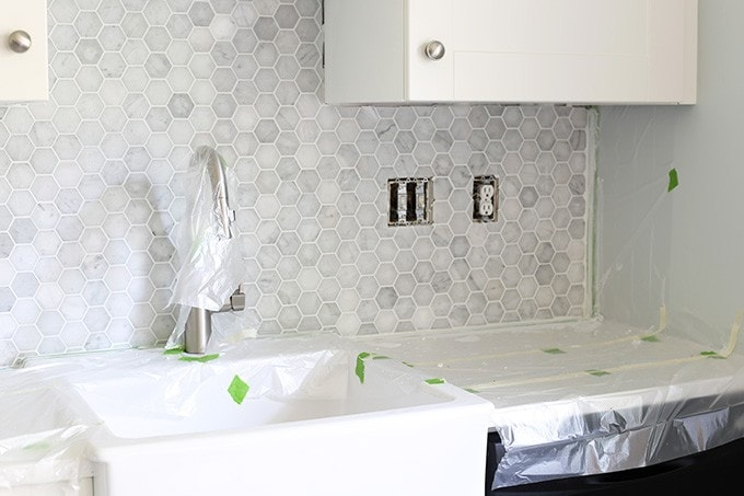 How To Install A Marble Hexagon Tile Backsplash Just A Girl And Her Blog