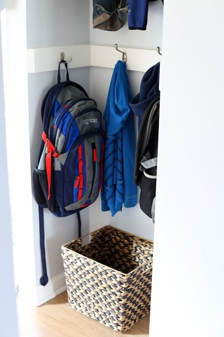 Creative Coat Storage: Our Mini Mudroom | JustAGirlAndHerBlog.com
