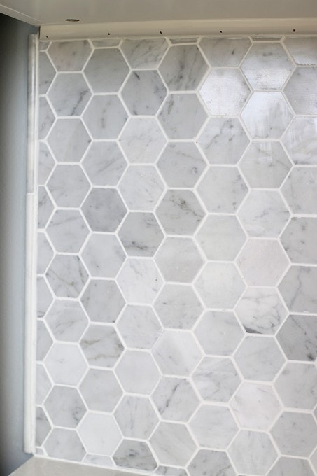 Top How to Install a Marble Hexagon Tile Backsplash - Just a Girl and  VW47