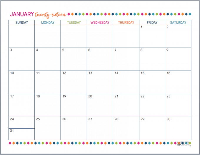 Free Printable 2016 Calendar! - Just a Girl and Her Blog