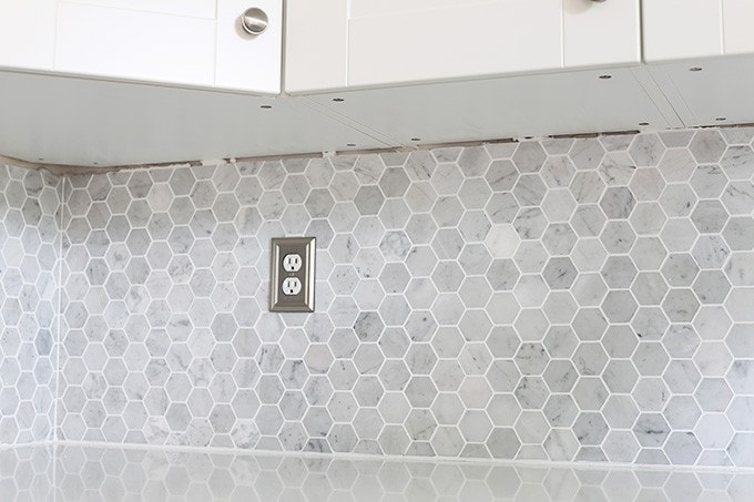 How To Install A Marble Hexagon Tile Backsplash Just A Girl And - 10 inch hexagon tile
