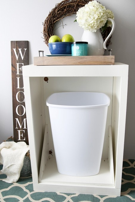 How To Make A Custom Tilt Out Trash Cabinet | JustAGirlAndHerBlog.com
