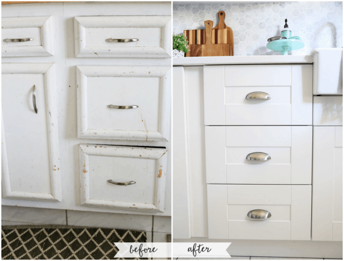 Kitchen Drawers Before and After. Beautiful white IKEA SEKTION GRIMSLOV kitchen with aqua and green accents, a gorgeous marble hexagon backsplash, and quartz countertops. | JustAGirlAndHerBlog.com