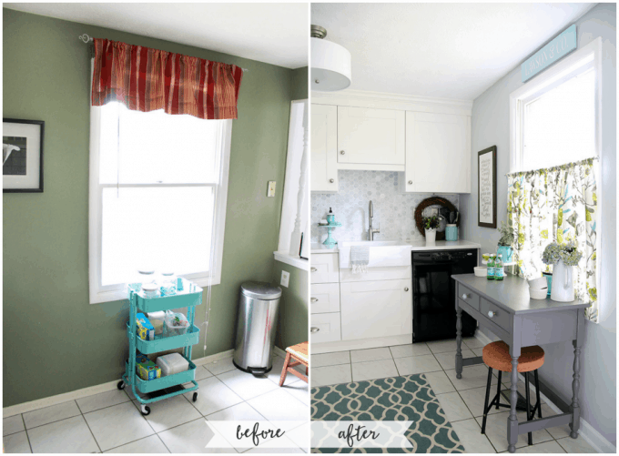 Kitchen Renovation Before and After. Beautiful white IKEA SEKTION GRIMSLOV kitchen with aqua and green accents, a gorgeous marble hexagon backsplash, and quartz countertops. | JustAGirlAndHerBlog.com