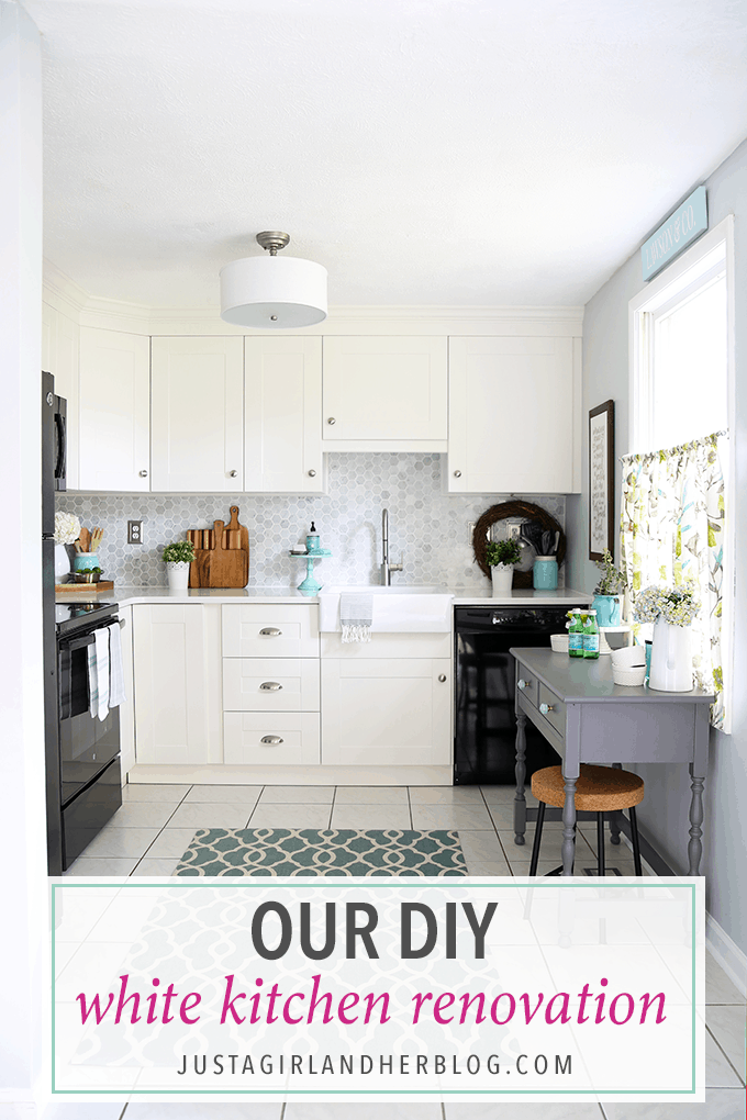 Love this stunning DIY white kitchen! They used IKEA SEKTION cabinets, quartz countertops, and marble backsplash tile-- the result is amazing! Click through to see the whole thing!