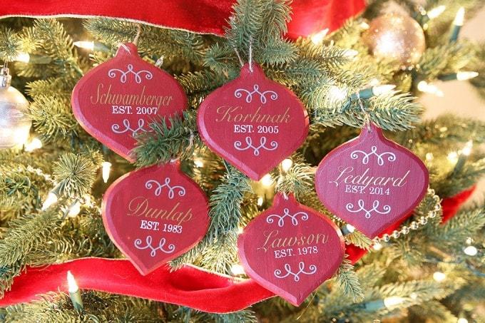 DIY Personalized Christmas Ornaments | JustAGirlAndHerBlog.com