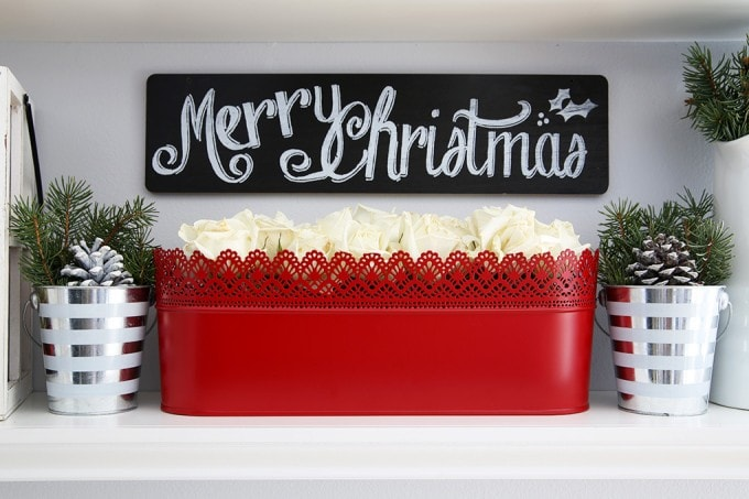 Not sure what to put on your floating shelves this Christmas? This post can help! Easy, beautiful decorating ideas that are inexpensive too! Click through to the post to get the scoop!   JustAGirlAndHerBlog.com