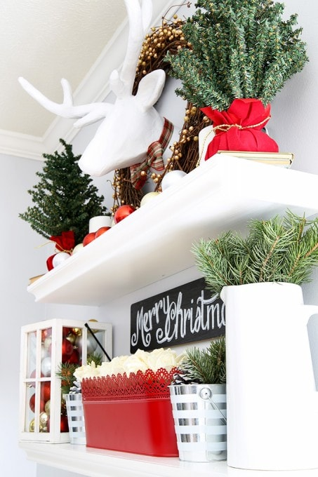 A beautiful classic Christmas home tour with tons of inspiration for simple, meaningful holiday decorations! Click through to the post to see more! | JustAGirlAndHerBlog.com