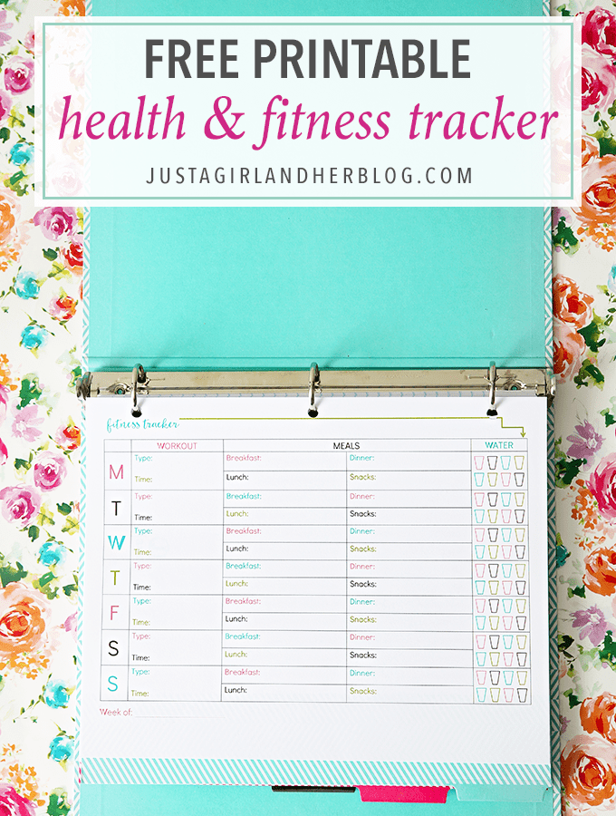 Home Organization, Fitness- Free Printable Health and Fitness Tracker, exercise routine, eating healthy, whole 30, paleo, new year's resolutions, get healthy, lose weight, accountability, free printables, pretty printables
