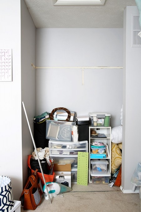 I love how she organized her craft closet to make it totally functional and beautiful without spending a ton of money! Click through to the post for a full source list and all of the pretty details! | JustAGirlAndHerBlog.com