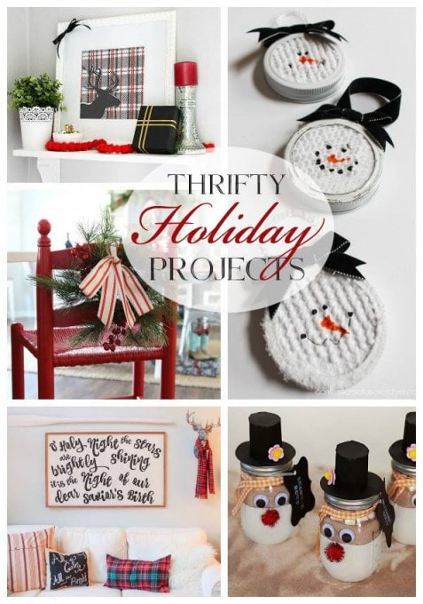 So many cute ideas for holiday decorating with thrifted finds! Love this cute Christmas vignette-- click through to the post for details! | JustAGirlAndHerBlog.com