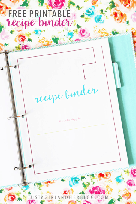 Free Printable Recipe Binder for Organizing Recipes