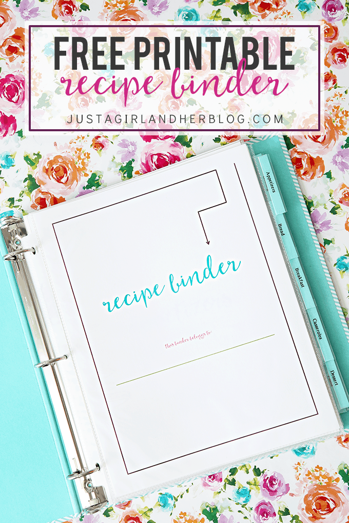 Handy image inside free printable recipe binder