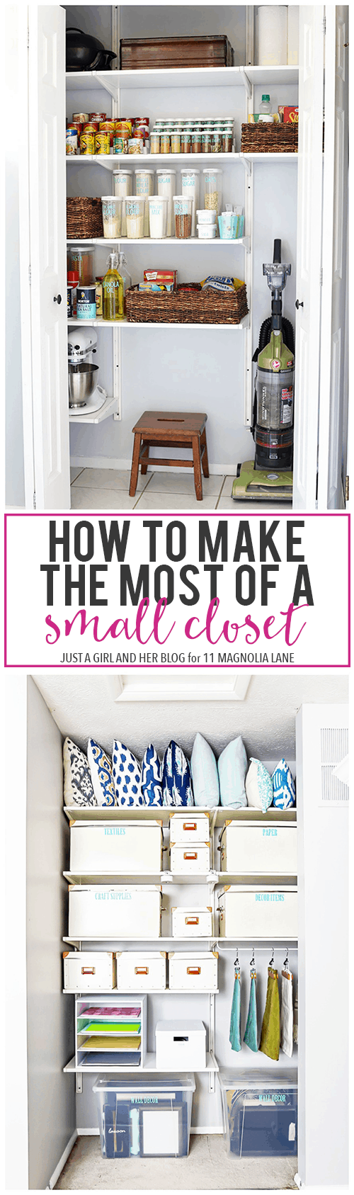 This post is proof that small closets can be neat and organized! Love these organization ideas! | Just a Girl and Her Blog for 11 Magnolia Lane