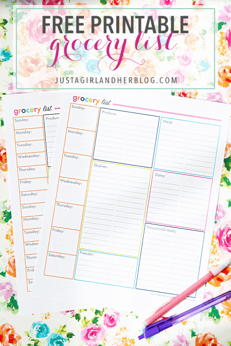 A Free Printable Organized Grocery List