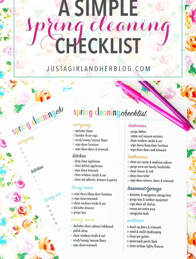 Love this bright, cheerful and simple spring cleaning checklist! Pop over to the post to snag the free printable!