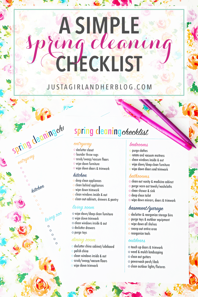 Spring Cleaning Checklist a simple spring cleaning checklist - just a girl and her blog