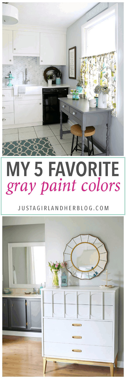 best warm gray paint colorsMy 5 Favorite Gray Paint Colors  Just a Girl and Her Blog