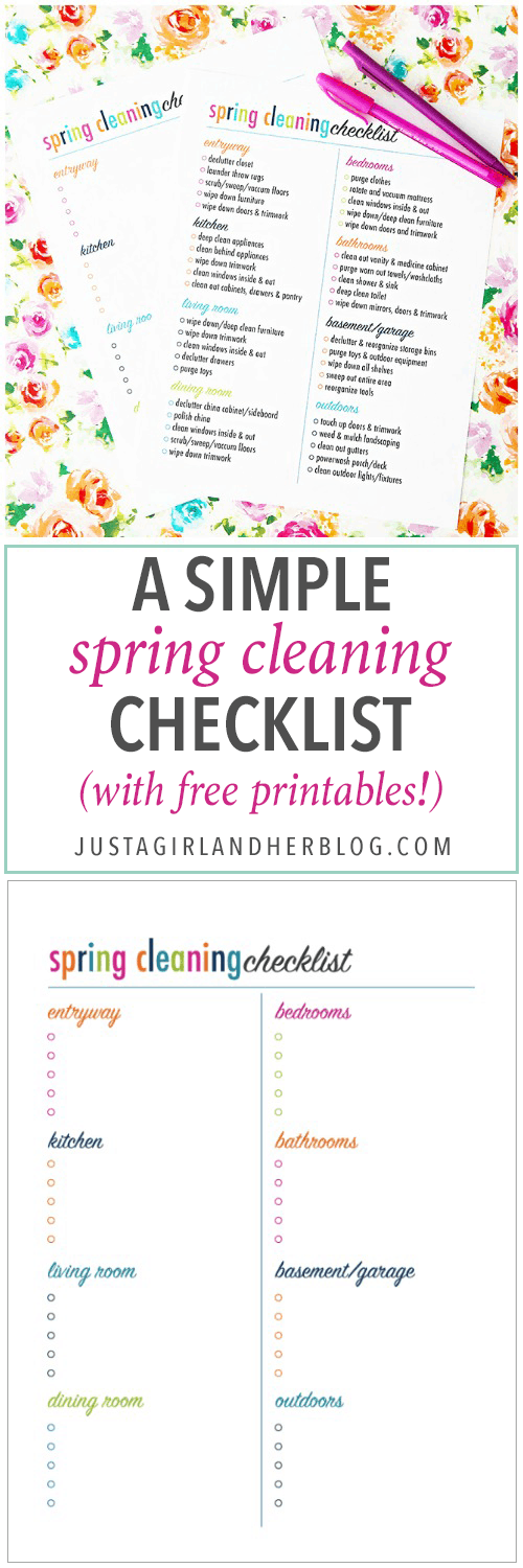 Snag this simple spring cleaning checklist-- free printables to help you get all of those dreaded chores done the easy way! | spring cleaning, cleaning list, chores, free printable, pretty printable, deep clean, how to clean