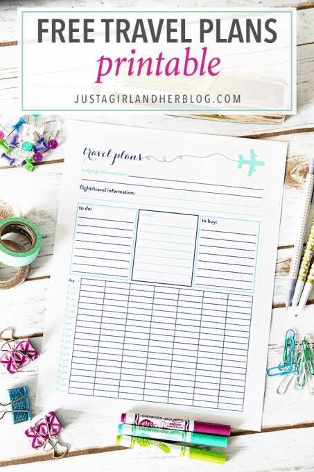 Love this pretty and free travel plans printable-- such a great way to get organized for vacation! Pop over to the post to snag your copy!