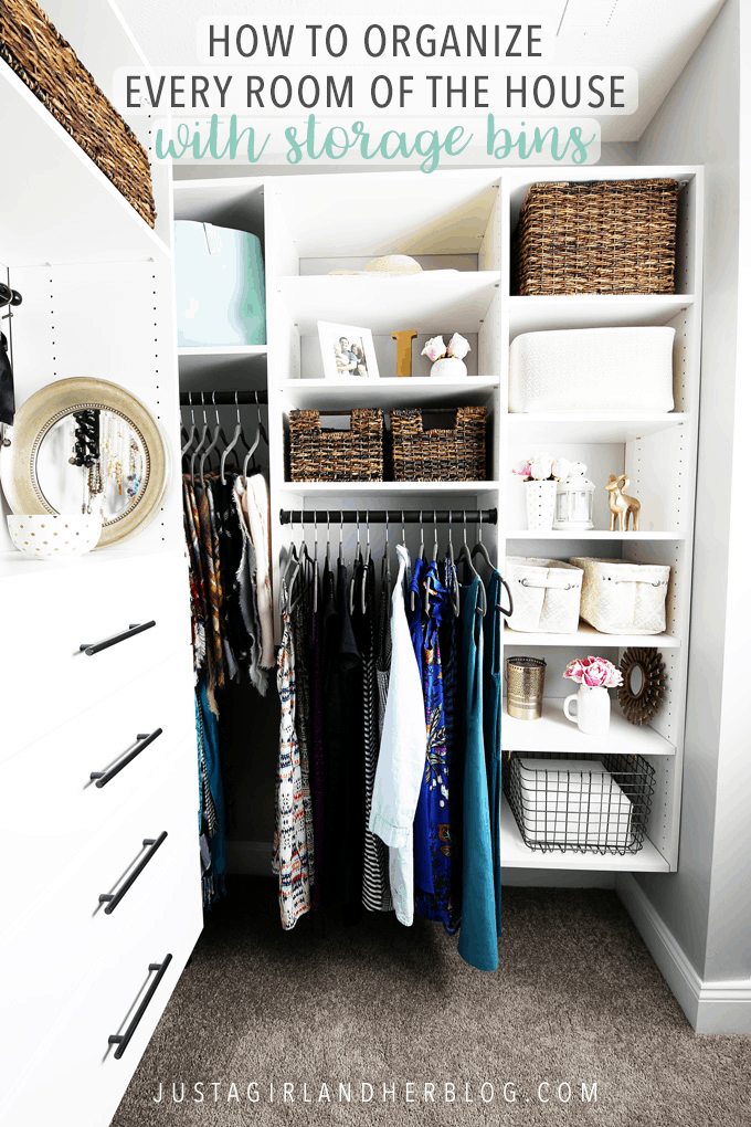 Organize every room of the house with storage bins, pretty baskets, and storage tubs with these quick and easy organizing tips! | #organization #organizing #storage #storagebins #storagetubs #baskets #organized #clothesorganization