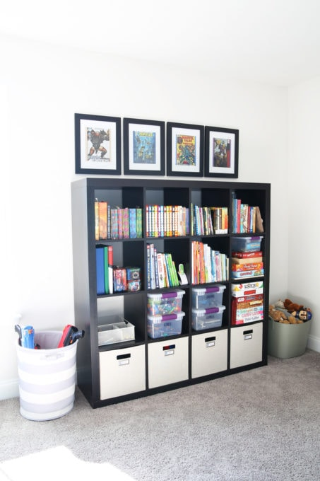 IKEA KALLAX Storage Unit for Toy Organization, and Fabric Bins with Bookplate Labels