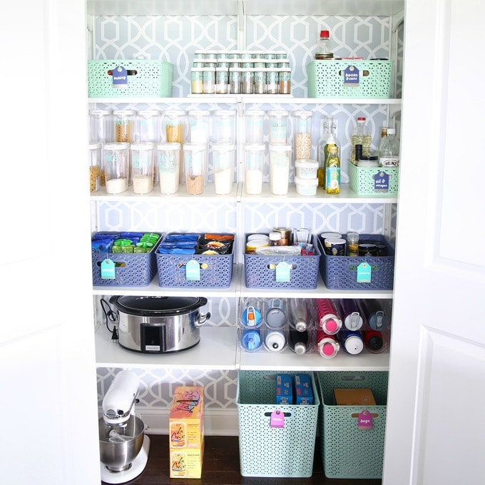 Organized Pantry with Y-Weave Storage Bins