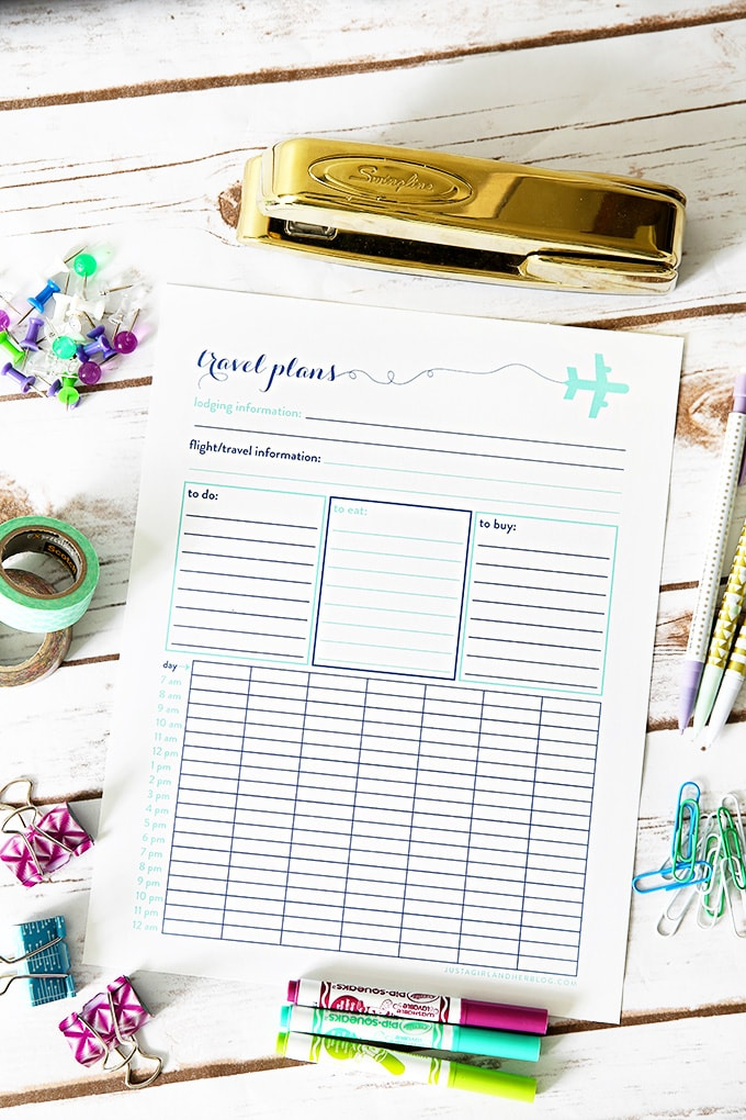 Free Travel Plans Printable - Just a Girl and Her Blog