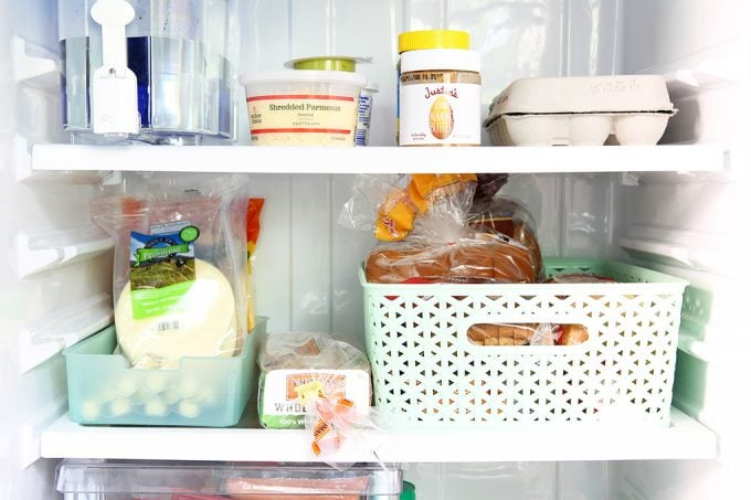 Love the ideas and strategies she uses to organize a small refrigerator! I need to put some of these to work in my on refrigerator organization! Click through to the post to see all of her organizing tips and tricks!