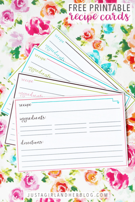 Free Printable Recipe Cards in Two Different Styles