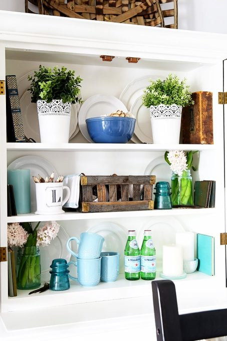 Summer Hutch Decor and Styled x3
