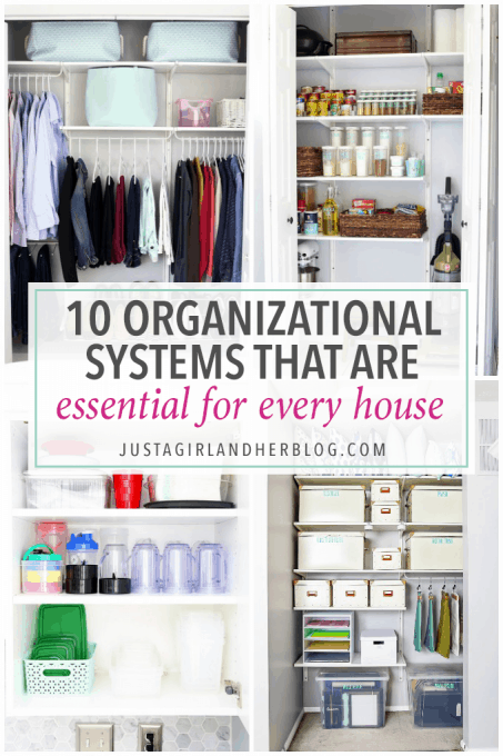 If you want to get organized but don't know where to start, this helpful post talks about 10 essential organizational systems that every home needs to have! It's genius! Click through to the post to read more!
