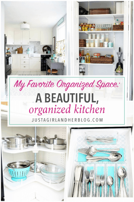 Love this beautifully organized kitchen! Click through to see all of the awesome organized details-- she thought of everything!