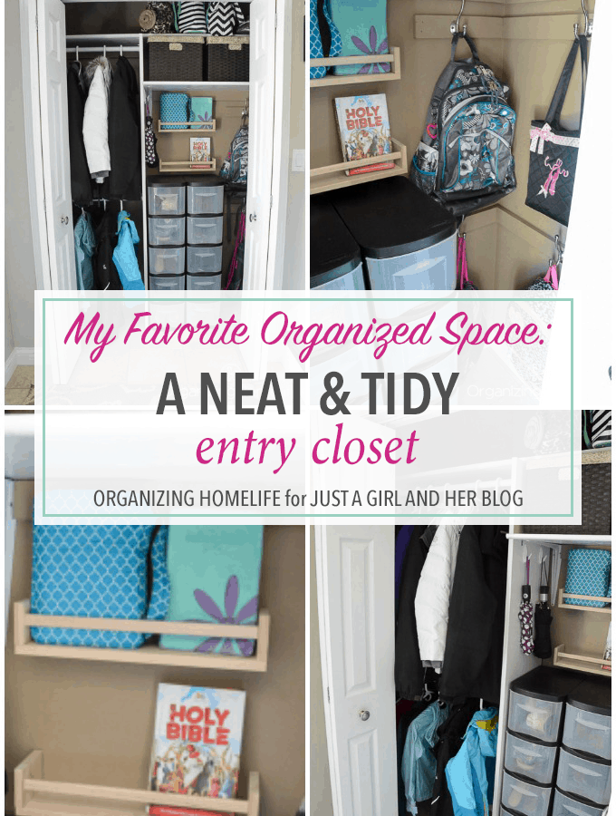 This organized entry closet is amazing! I never knew you could fit this much function in a small space! Click through to get all the details about how she did it!