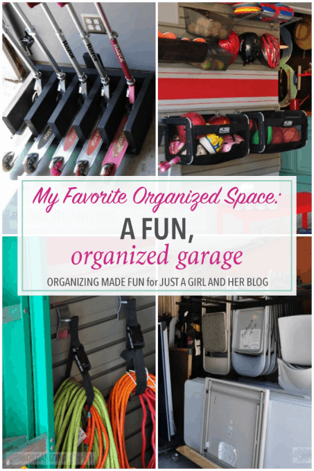 Love this fun, organized garage space! So many creative storage ideas! Click through to the post to see them all!