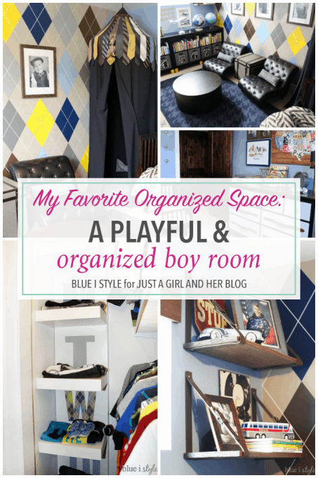 This boy room is so cute and incredibly organized! She really thought of every detail and everything goes together so well-- neat and tidy!