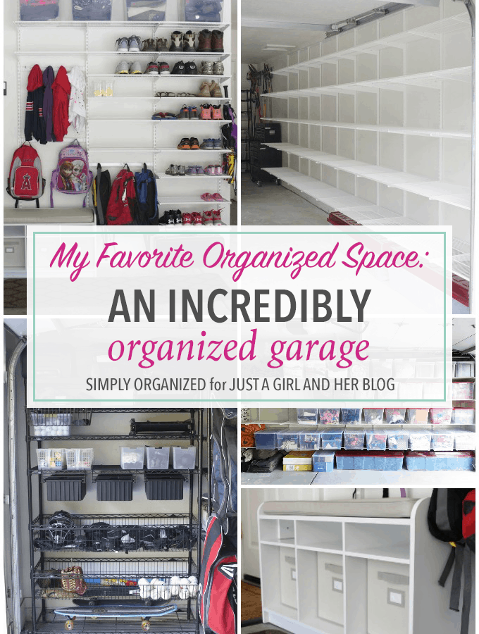 This organized garage is amazing! I want to use so many of her ideas to organize my garage! Click through to the post to see it all!