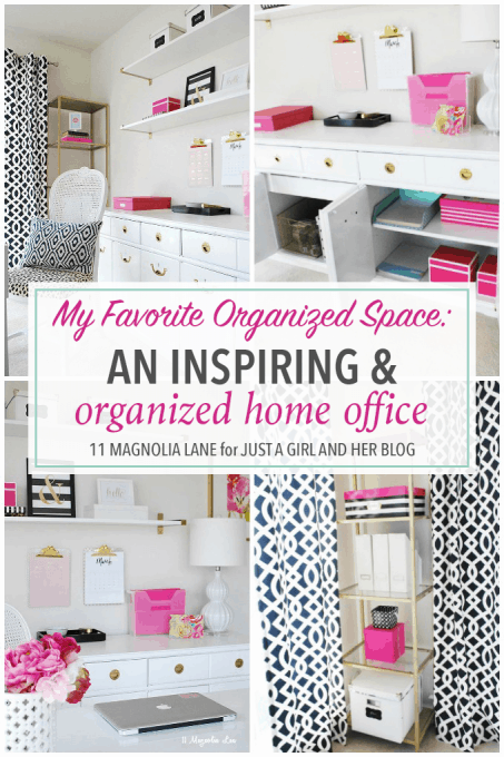 Love this gorgeous and inspiring home office space! She uses some genius systems to keep it organized too! Pop over to the post to read more!