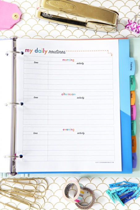 Daily Routines Printable, Student Binder with Free Printables for Back-to-School, study aids, high school organization, college organization, middle school organization, pretty printables, printables for girls, printables for boys, resources for students, back to school, graduation gift, student organization, teacher printables