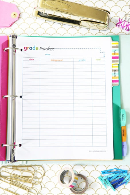 Grade Tracker Printable, Student Binder with Free Printables for Back-to-School, study aids, high school organization, college organization, middle school organization, pretty printables, printables for girls, printables for boys, resources for students, back to school, graduation gift, student organization, teacher printables