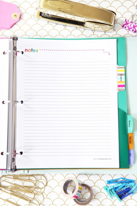 Notes Printable, Student Binder with Free Printables for Back-to-School, study aids, high school organization, college organization, middle school organization, pretty printables, printables for girls, printables for boys, resources for students, back to school, graduation gift, student organization, teacher printables