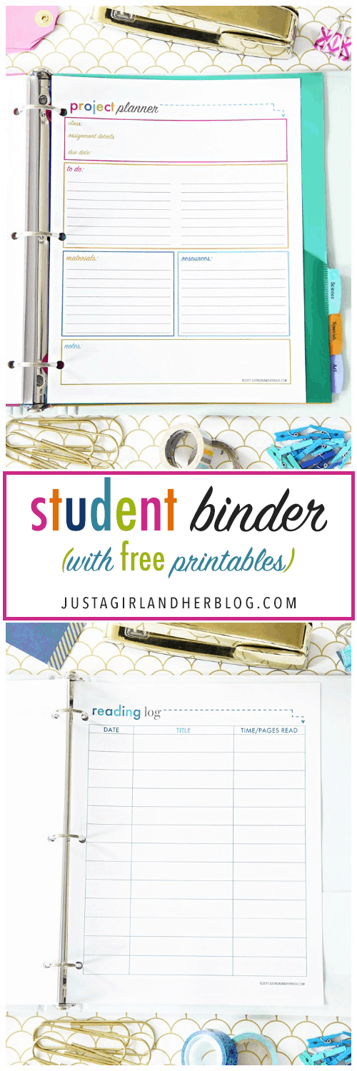 Student Binder with Free Printables for Back-to-School, study aids, high school organization, college organization, middle school organization, pretty printables, printables for girls, printables for boys, resources for students, back to school, graduation gift, student organization, teacher printables