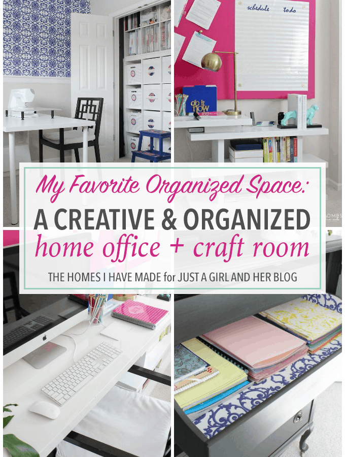 This home office and craft room so beautiful and organized! She thought of everything! And since they move a lot, everything is easily portable! Genius! Click through to the post to see all of her amazing ideas!