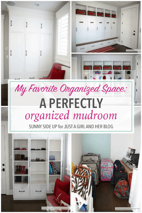 This organized mudroom is incredible! She has thought of every detail to keep this space neat and tidy, even with kids! Click through to the post to get her brilliant ideas!