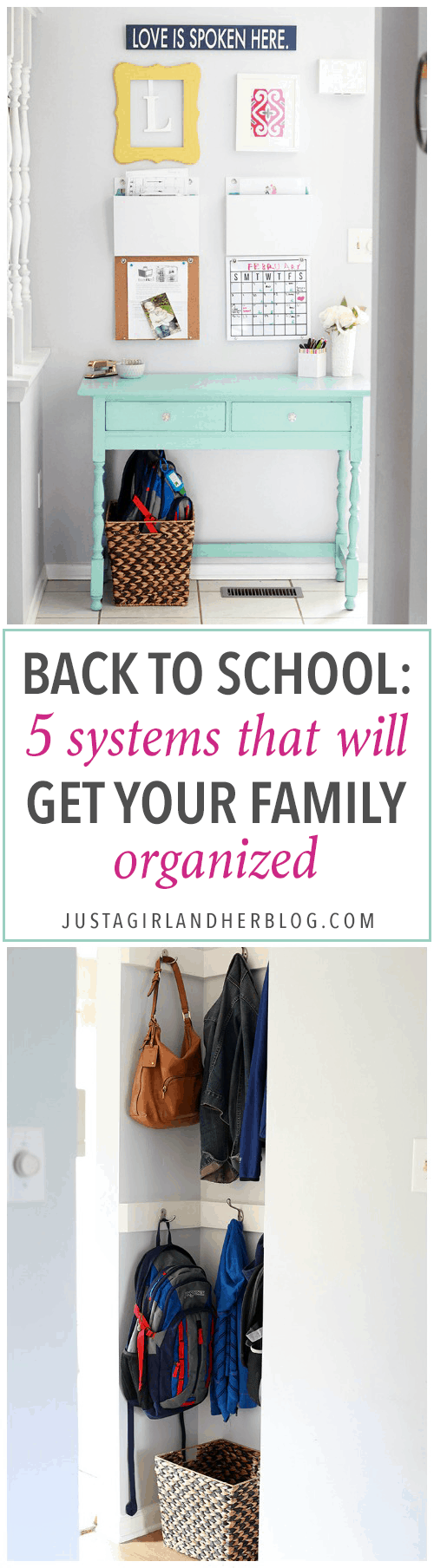 Love the ideas in this post for keeping kids organized for the school year! She talks about 5 systems of organization each family should have in place-- so smart! Click through to see them all!