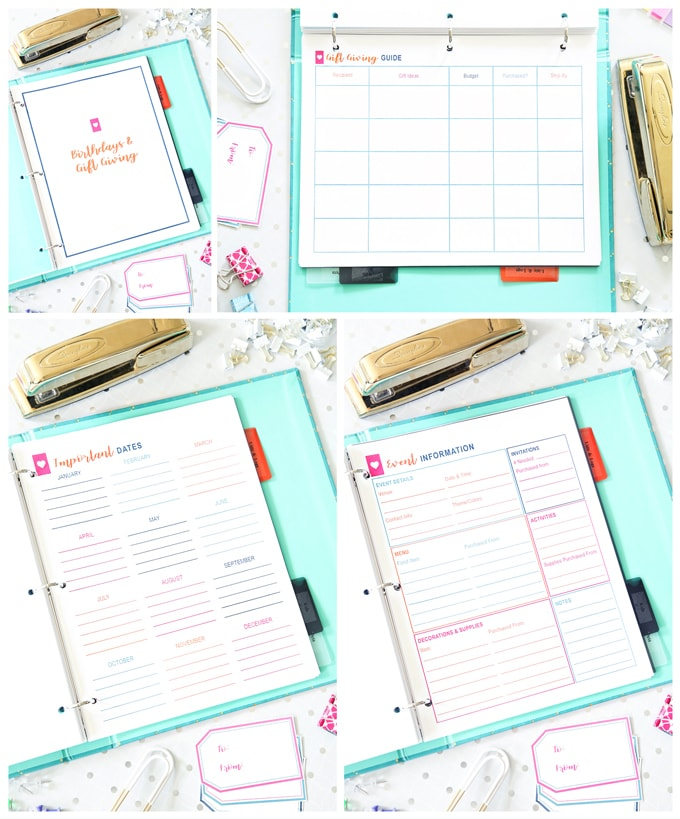 Birthdays and Gift Giving, Simplify Home Binder, Home Organization- Home Binder and Planner Tour, organization, organizational printables, organized, productivity, planning, productive, pretty printables, organize your life, organized life, home management binder, how to get organized