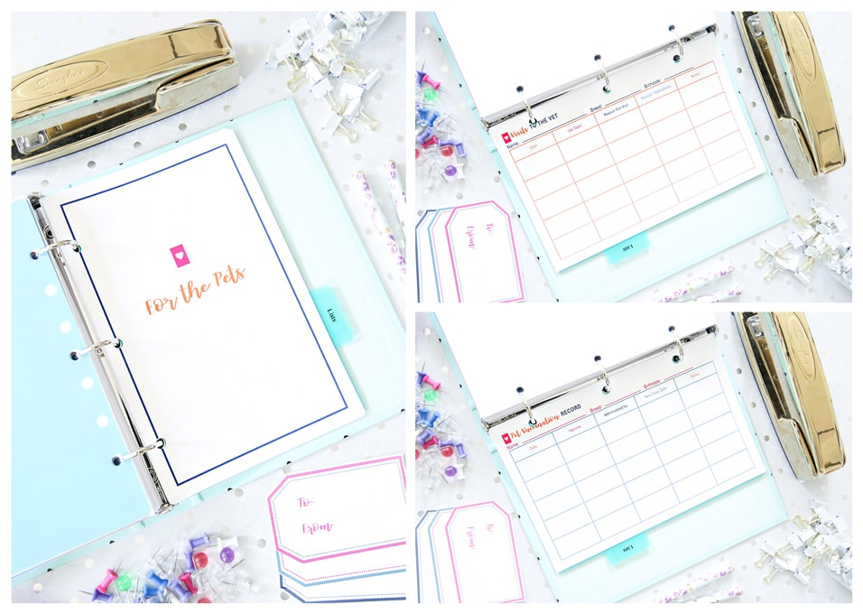 Pets Organization, Simplify Home Binder, Home Organization- Home Binder and Planner Tour, organization, organizational printables, organized, productivity, planning, productive, pretty printables, organize your life, organized life, home management binder, how to get organized