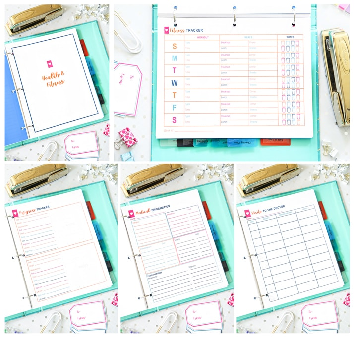 Health and Fitness, Simplify Home Binder, Home Organization- Home Binder and Planner Tour, organization, organizational printables, organized, productivity, planning, productive, pretty printables, organize your life, organized life, home management binder, how to get organized