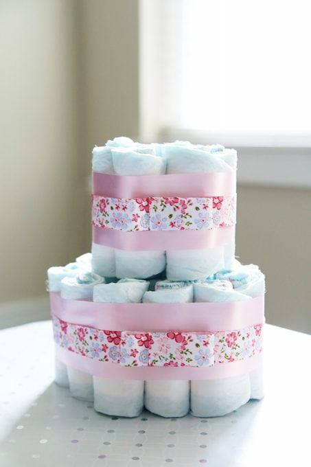 Diaper Cake Baby Shower Centerpieces Just A Girl And Her Blog